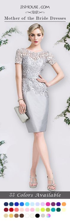 This Sheath/Column Scoop Neck Knee-Length Taffeta Lace Mother of the Bride Dress was designed with elegance & convenience. 33 Colors Available. #JJsHouse