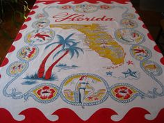 Vintage Florida tablecloth - 1940s with bathing beauties, flamingos, palm trees and Startex tag