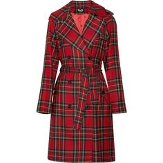 D Plaid wool trench coat ($825) ❤ liked on Polyvore