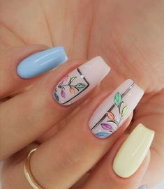 nail art designs for spring * nail art designs . nail art designs for spring . nail art designs for spring 2020 . nail art designs with glitter Almond Acrylic Nails, Summer Acrylic Nails, Cute Acrylic Nails, Cute Nails, Pretty Nails, Gel Nails, Coffin Nails, Spring Nail Art, Spring Nails