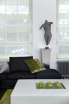 All my favorites - black/white/neutrals, with green and a beautiful piece of art