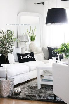 Black and White Living Room Decorating Ideas . √ 28 Black and White Living Room Decorating Ideas . 48 Black and White Living Room Ideas Decoholic White Family Rooms, Black And White Living Room, White Rooms, Living Room Grey, Home Living Room, Living Room Designs, Living Room Decor, Black White, Grey Room