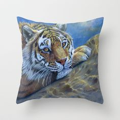 Tiger on the rock CC117 Throw Pillow by S-Schukina - $20.00