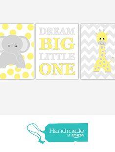 Baby Nursery Wall Art Yellow Gray Grey Prints Elephant Giraffe Dream Big Jungle Safari Zoo Animals Boy Girl Baby Nursery Decor SET OF 3 UNFRAMED PRINTS from Dezignerheart Designs http://www.amazon.com/dp/B018MXKR3G/ref=hnd_sw_r_pi_dp_XZ5Swb1WQ8B51 #handmadeatamazon