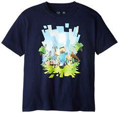 Minecraft - camiseta de minero - para niños - camiseta infantil del videojuego retro de mundo abierto - algodón - azul marino - 128 #camiseta #starwars #marvel #gift