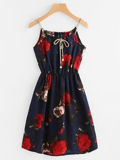 Navy Floral Print Continuous Gold String Self Tie Cami Dress Cute Girl Outfits, Cute Casual Outfits, Pretty Outfits, Pretty Dresses, Girls Fashion Clothes, Summer Fashion Outfits, Girl Fashion, Fashion Dresses, Steampunk Fashion