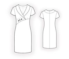 Dress With Asymmetrical Front Seam  - Sewing Pattern #4588. Made-to-measure sewing pattern from Lekala with free online download.