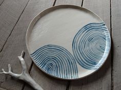 Handmade ceramic dinner plate waves stoneware by MountainClay -- I think I'd use this as a small platter rather than a dinner plate