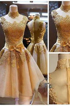 Gold Homecoming Dresses, Lace Cocktail Dresses, Tulle Prom Dresses, Fashion Graduation Dresses, Short Mini Party Dress, 2016 Cocktail Dresses
