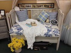 Repurposed 1950's baby bed into settee  Www.facebook.com/thesilvernest484