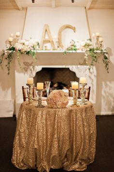 Ali likes the initials on the mantle Beautifully Detailed Arizona Wedding from Pinkerton Photography - gold wedding reception idea Wedding Fireplace Decorations, Wedding Mantle, Wedding Table Flowers, Wedding Reception Decorations, Reception Ideas, Table Wedding, Wedding Centerpieces, Mod Wedding, Floral Wedding