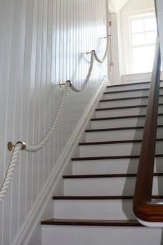 Nautical lake house staircase