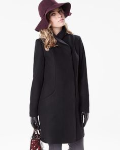 Wool-blend straight coat with high collar | RW&CO.