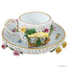 "Meissen porcelain ""sneeballen"" snowball cup & saucer with raised flowers & birds, German, c. 1870."