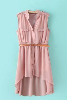 Sleeveless Chiffon High Low Dress