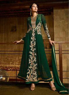 Green Embroidered Georgette Anarkali Salwar Kameez