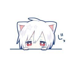 Mafumafu Sticker (cat) - LINE Pegatinas Chibi Neko, Dibujos Anime Chibi, Cute Anime Chibi, Kawaii Chibi, Cute Anime Boy, Anime Guys, Gato Anime, Anime Neko, Manga Kawaii
