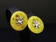Deco Marbled Bakelite Earrings Rhinestone Center by SassyBeauties