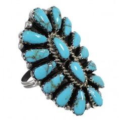 Turquoise Sterling Silver Navajo American Indian Ring Size 7 YX90889-0