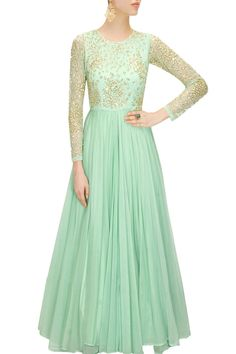 Mint green embroidered anarkali gown available only at Pernia's Pop-Up Shop.