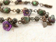 Purple and Green Flower Bracelet  Vintage Style by ArdentHearts