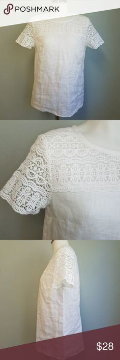 """J. Crew Linen & Lace Top Beautiful white linen and lace blouse. Keyhole single button back closure. Lace upper chest and short sleeves. In excellent condition. No holes, flaws or discoloration. J. Crew Factory.  Size 2. 18 3/4"""" bust. 20"""" across hem. 15.5"""" across upper shoulders. 24"""" long. J. Crew Factory Tops Blouses"""