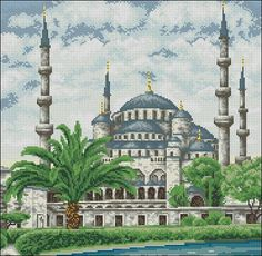 "99 Creative Mosque Projects - Free cross-stitch pattern ""The Blue Mosque"""