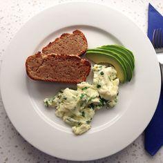 Scrambled Eggs & Avocado on homemade Buckwheat toast