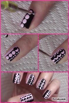 Black and Pale / Pastel Pink polka dots, dotting, Easy, simple free hand nail art Polka Dot Nail Art Tutorial Dot Nail Art, Polka Dot Nails, Blue Nails, Polka Dots, Dot Nail Designs, Simple Nail Designs, Nails Design, Nagel Stamping, Nail Design Spring