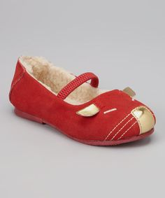 Take a look at this Red & Gold Leather Mary Jane by L'Amour Shoes on #zulily today!