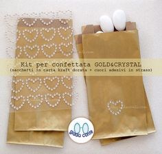 SACCHETTI PER CONFETTATA 'Gold&Crystal'  kit di giadacontewedding