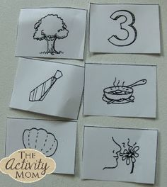 We've worked with rhyming cards before, finding which 2 out of 3 rhyme. This time I printed a set of cards from Teach Mama and we worked on finding the ma