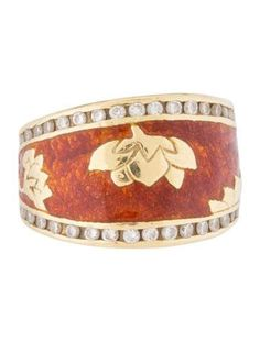 $595.00   18K yellow gold band ring featuring enamel accents and 0.54 carats of round brilliant diamonds.