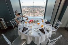 103 floors above the streets of Chicago, alone in my all-encompassing panorama made for royalty. Willis Tower, Table Settings, Chicago, Sky, Table Decorations, Breakfast, Kids, Travel, Heaven