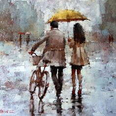 Imagen vía We Heart It https://weheartit.com/entry/151793565/via/28544609 #couple #painting #rain #raining