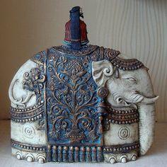 VintageFiori: Etsy art prints - Elephant sculpture by Roman Khalilov Elephant Sculpture, Sculpture Art, Elephant Illustration, Illustration Art, Ceramic Pottery, Ceramic Art, Elephant Love, Ceramic Animals, Polymer Clay Miniatures