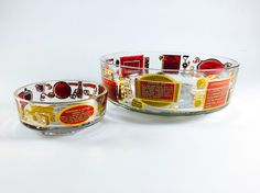Vintage Chip And Dip Bowl Set With Recipes by LivingAVntgLife