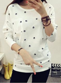 Casual Scoop Neck Skull Pattern Long Sleeve T-Shirt For WomenT-Shirts | RoseGal.com