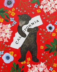 """I Love You California"" Red Print. http://www.3fishstudios.com/collections/digital-prints"