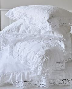Beautiful Collection Bright White Lacy Pillows, Fabric is a Fabulous Cotton with Graphic Design