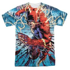 THE Flash Ripping AND Tearing DC Comics Sublimation Poly Adult Shirt S 3XL | eBay