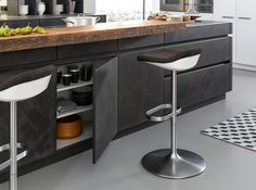 Get LEICHT's modern kitchen units with concrete surface and designer material with Concrete-A at Elan Kitchens, Leading London Kitchen Store in Fulham. Best Kitchen Designs, Modern Kitchen Design, Black Kitchens, Cool Kitchens, Francis Mallman, Industrial Chic Kitchen, Kitchen Icon, German Kitchen, Concrete Kitchen