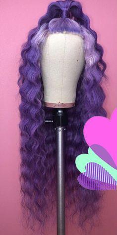 amazing mermaid hair looks Wig Styles, Curly Hair Styles, Natural Hair Styles, Braided Prom Hair, Birthday Hairstyles, Purple Wig, Colored Wigs, Barbie Hair, Braids Wig