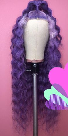 amazing mermaid hair looks Wig Styles, Curly Hair Styles, Natural Hair Styles, Baddie Hairstyles, Weave Hairstyles, Purple Wig, Purple Hair Black Girl, Birthday Hairstyles, Colored Wigs