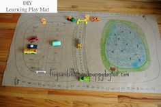 DIY Cardboard Learning Play MatTop 13 Kid Activities of 2013 Earth Day Activities, Activities For Kids, Toddler Crafts, Crafts For Kids, Toddler Language Development, Earth Day Projects, Recycled Crafts, Recycled Materials, Color Crayons