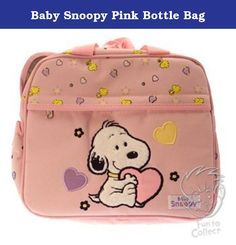 Baby Snoopy Pink Bottle Bag. Not as shown --blue holds 2 bottles by Cutie Pie Baby Boston bag easy snap off water resistant double zipper.