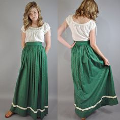 Vintage 60s Maxi Skirt High Waist Green by rockstreetvintage, $42.00