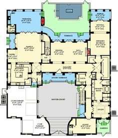 Plan 69365am l shaped 2 story with master on main house for Multi family house plans with courtyard