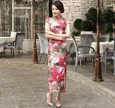 Traditional Red Silk Floral Printing Full Length Cheongsam Qipao Dress - iDreamMart.com