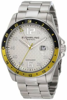 Stuhrling Original Men's 289.33212 Aquadiver Regatta Galleon Swiss Quartz Date Stainless Steel Bracelet Watch Stuhrling Original. $79.00. Protective Krysterna crystal with designed case back. Water-resistant to 165 feet (50 M). Brushed and polished stainless steel link bracelet with deployant clasp. Silver designed dial with silvertone markers and date window. Brushed and polished stainless steel case with black and yellow bezel